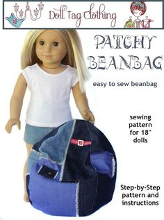 Make a cute bean bag chair for your American Girl Doll.