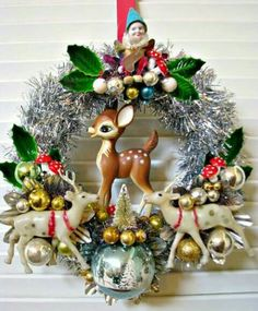 Super cute wreath with vintage ornaments