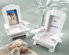 Beach Memories Miniature Adirondack Chair Place CardPhoto Frame Set of 4