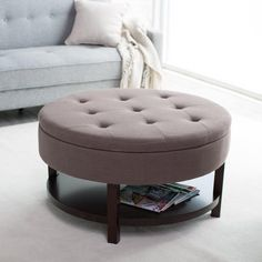 Genial Round Upholstered Ottoman Coffee Table