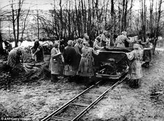 Ravensbruck's Womens's Concentration camp work team with camp truck