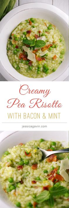 Creamy Pea and Bacon Risotto with fresh mint leaves | jessicagavin.com