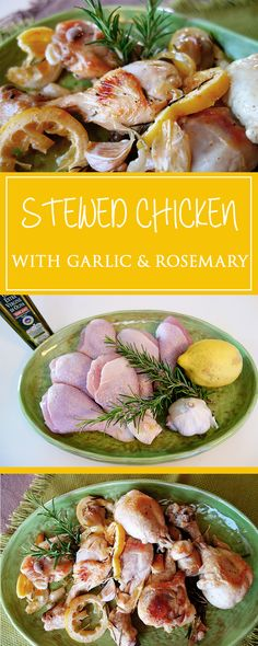 Stewed chicken with garlic and rosemary - my new favorite main dish: a simple & irresistably aromatic recipe with just a few ingredients that comes together in only 40 minutes!  | cucina-con-amore.com