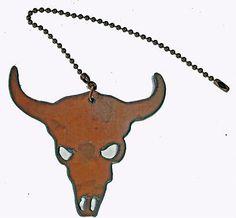 Western Decor Rustic Metal Ceiling Fan Pull Buffalo Skull