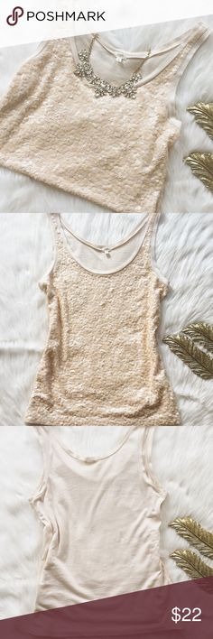 J.Crew Factory Cream Sequin Tank Gorgeous cream sequin J.Crew Factory tank in excellent condition! I only wore this once,and it has no flaws that I can tell,and no sequins are missing! Features cream square sequins on the front,and a solid cream back. 100% cotton,size S💕 J. Crew Tops