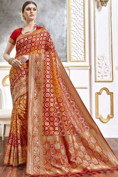 Red viscose saree with red viscose blouse. Embellished with woven zari work. Saree with Sweetheart Neckline, Half Sleeve. It comes with unstitch blouse, it can be stitched to 32 to 58 sizes. #weddingsaree #weddingwearsaree #festivalwear #partywearsaree