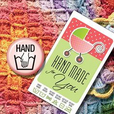Laundry Care Tags Hand Wash for Hand Made Baby by MadMadGraphics, $4.00