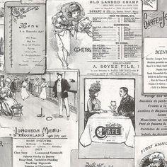Manhattan Comfort Accentuations Boca Vintage Menu Wallpaper Black - NWFK26953