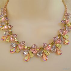 Vintage Rhinestone Bridal Necklace Set Earrings by BogieBacall, $295.00