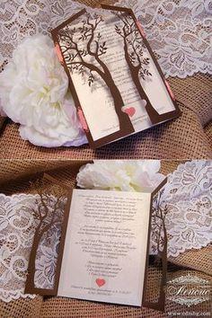 Сватбена покана Дърво. Студио Лейсис