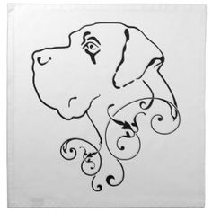 Tribal Great Danes | Line Drawing Great Dane Head Cloth Napkin
