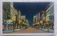 Main Street Night View Mansfield, Ohio Vintage Linen PC Old Cars Street Lights