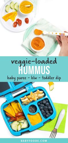 This Veggie-Loaded Hummus Baby Food or Toddler Dip is an amazing recipe that gross with your baby! You can serve as a puree to baby or use it as a dip for baby-led weaning or for your toddler. Made with carrots, sweet potatoes and chickpeas, this recipe is so good that you will want to eat it yourself! #babyfood #babyledweaning #fingerfoods #toddlersnack #toddlerlunch #veggieloaded Snacks For School Lunches, Toddler Lunches, Baby Puree Recipes, Baby Food Recipes, Toddler Recipes, Baby First Finger Foods, Healthy Store Bought Snacks, Baby Led Weaning Breakfast, Cauliflower Chowder
