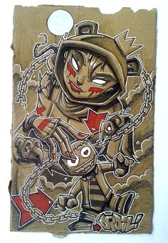 """""""The Queen of manipulation"""" Opoil 2015 18,5 x 28,5cm - Mixed medias on cardboard For sale, contact me in mp."""