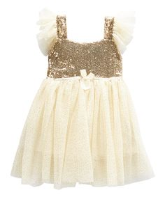 Look at this Just Couture Ivory & Gold Sequin Sparkle Dress - Infant, Toddler & Girls on #zulily today!