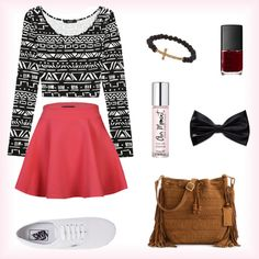 I like the skater skirt with the cute top and the VANS make it not-so-dressy but I think it could be dressed up more with different shoes