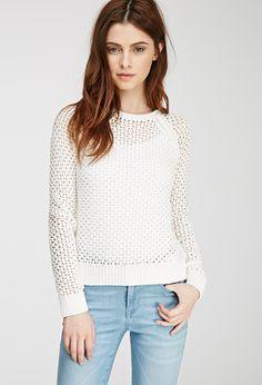 Open Knit Raglan Sweater