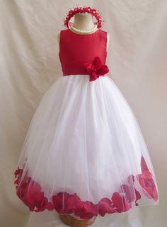 Flower Girl Dresses - RED Top Rose Petal Dress (FD0PT) - Wedding Easter Bridesmaid - For Baby Children Toddler Teen Girls