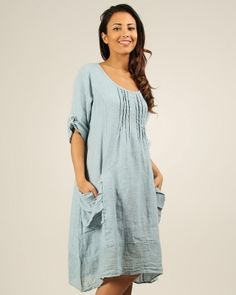 Designer : LE COMPTOIR DU LIN - BLUE NADIA ROUND NECK LINEN DRESS - $72 Today on Mynetsale.com.au!