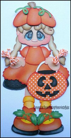 Premade Paper Pieced Pumpkin Girl for Scrapbook Pages -by Babs