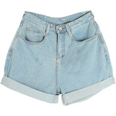 Rolled-cuffs High-rise Light Blue Denim Shorts (420 MXN) ❤ liked on Polyvore featuring shorts, bottoms, pants, short, jean shorts, highwaist shorts, high waisted short shorts, high-waisted jean shorts and light blue jean shorts