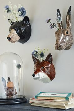 Cabezas de animales de peluche o de cartón, Home Accessories, Ceramic Animal Wall Vases - Vases & Plant Pots - Home Accents - I am dying to have that rabbit! Casa Hipster, Hipster Home, Hipster Style, Hipster Fashion, Ceramic Animals, Ceramic Art, Cerámica Ideas, Sculptures Céramiques, Faux Taxidermy