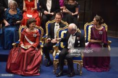 Queen Silvia of Sweden,Prince Daniel of Sweden,King Carl XVI Gustaf of Sweden and Crown Princess Victoria of Sweden attend the Nobel Prize Awards Ceremony at Concert Hall on December 10, 2015 in...