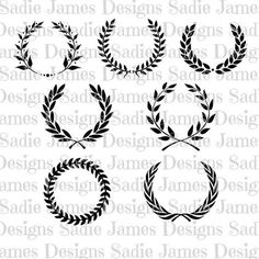 Laurel Leaf Wreath Monogram Collection SVG by SadieJamesDesigns