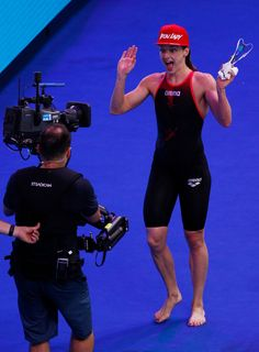 Katinka Hosszu of Hungary celebrates winning gold in the Women's 200m Individual Medley Final on day eleven of the Budapest 2017 FINA World Championships on July 24, 2017 in Budapest, Hungary.