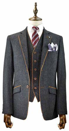Mens 3 Piece Navy Tweed Lapel Tan Piping Slim Fit Suit