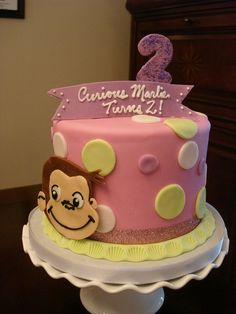 Pink Curious George birthday cake by murnahan, via Flickr