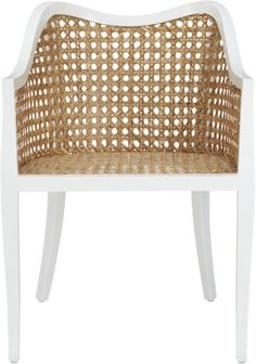 victorian lite.  Airy rattan accent slicks up a nouveau take on tradition.  Handwoven of natural rattan, breezy seat and back keep things light, framed in solid mahogany lacquered hi-gloss white.  Fluid, modern curves wink at Victorian lines, from soft slope down the arms that hug in a wrap-around swoop, to subtle curve of legs.  Up the comfort with tabayas side chair cushion.