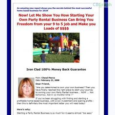Complete Guide To Starting And Operating A Successful Party Rental Business That Can Be Easily Operated From A Home. Great Business For Families. Not Only Is It Profitable, But The Kids Love It! See more! : http://get-now.natantoday.com/lp.php?target=partyzone