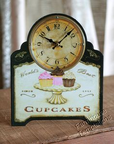 CUPCAKES CLOCK Vintage SHABBY Table WALL DECOR Sweets ANTIQUED Chic BAKERY STORE