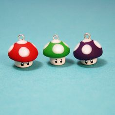 Super Mario Mushrooms Polymer Clay Charm 3 Pack by Etsy seller Bind Leviathan. Cute Polymer Clay, Cute Clay, Fimo Clay, Polymer Clay Projects, Polymer Clay Charms, Polymer Clay Creations, Clay Beads, Polymer Clay Jewelry, Clay Crafts