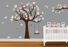Children Wall Decal Baby Nursery Owl Wall Decal Wall Stickers Birds butterflies on Etsy, $124.99