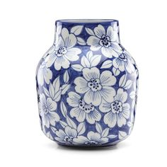 Encircled by delicate blossoms&& the Painted Indigo Floral Tapered Vase from Lenox is a lovely design accent for your home as well as the perfect gift to commemorate a wedding or other special occasion& CleanMeasures& Porcelain Jewelry, Porcelain Ceramics, Ceramic Vase, Porcelain Tiles, Porcelain Doll, Delft, Painted Vases, Hand Painted, White Porcelain