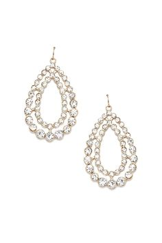 A pair of high-polish drop earrings featuring a teardrop design with rhinestone embellishments and fish hook closures.