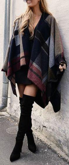 #street #style / pattern print poncho