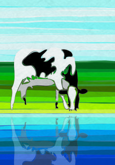 Cow with reflection in water: digital artwork with fine surface distribution lines and fresh colors (blue and green): www.colorsquare.nl