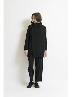 Double face jersey drape hood W-cardigan 詳細画像 Black 3
