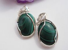 Malachite and Silver Wire Wrapped Earrings. $25.00, via Etsy.
