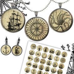 Nautical images - Old Ship images - Compass Rose - Sea Monsters for Jewelry Making,bottle caps, Scrapbooking Digital Collage Sheet NO241