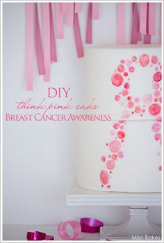 Pink Breast Cancer Awareness Cake by Miso Bakes  |  TheCakeBlog.com #cake #breastcancerawareness