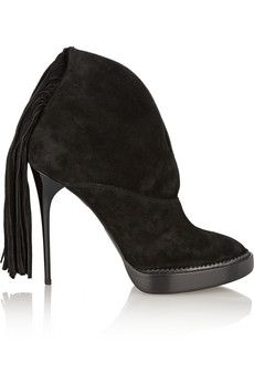 Burberry Prorsum Nadie fringed suede ankle boots | NET-A-PORTER