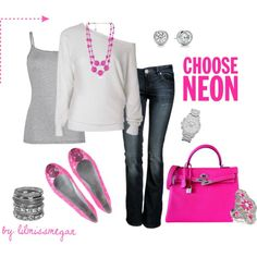 """""""Pops of NEON PINK!"""" by lilmissmegan on Polyvore"""