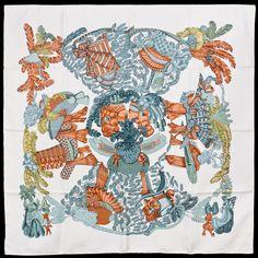 Authentic Hermes CHAPEAU! Silk Scarf Annie FAIVRE White