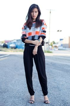 Blogger Von Vogue wears a 60s inspired check knit with tapered trousers #streetstyle #aw14