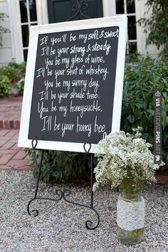 write out your favorite song lyrics, put it on a cute sign, and you have a darling decoration | VIA #WEDDINGPINS.NET