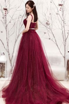 45ada4188e3 Long Prom Dresses Straps Aline Sexy Sweep Train Burgundy Lace Prom Dress  JKL1274